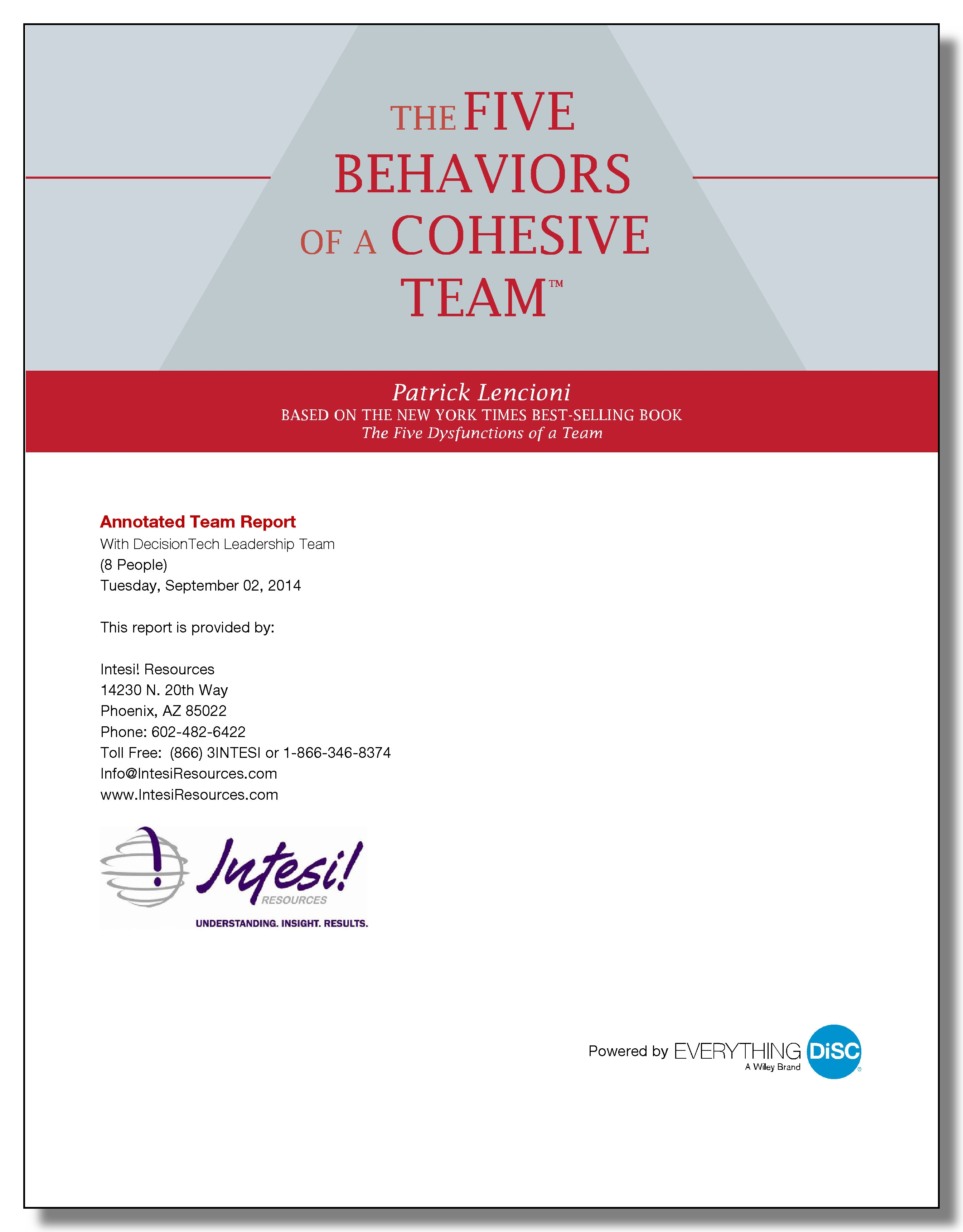 Five Behaviors Annotated Team Report
