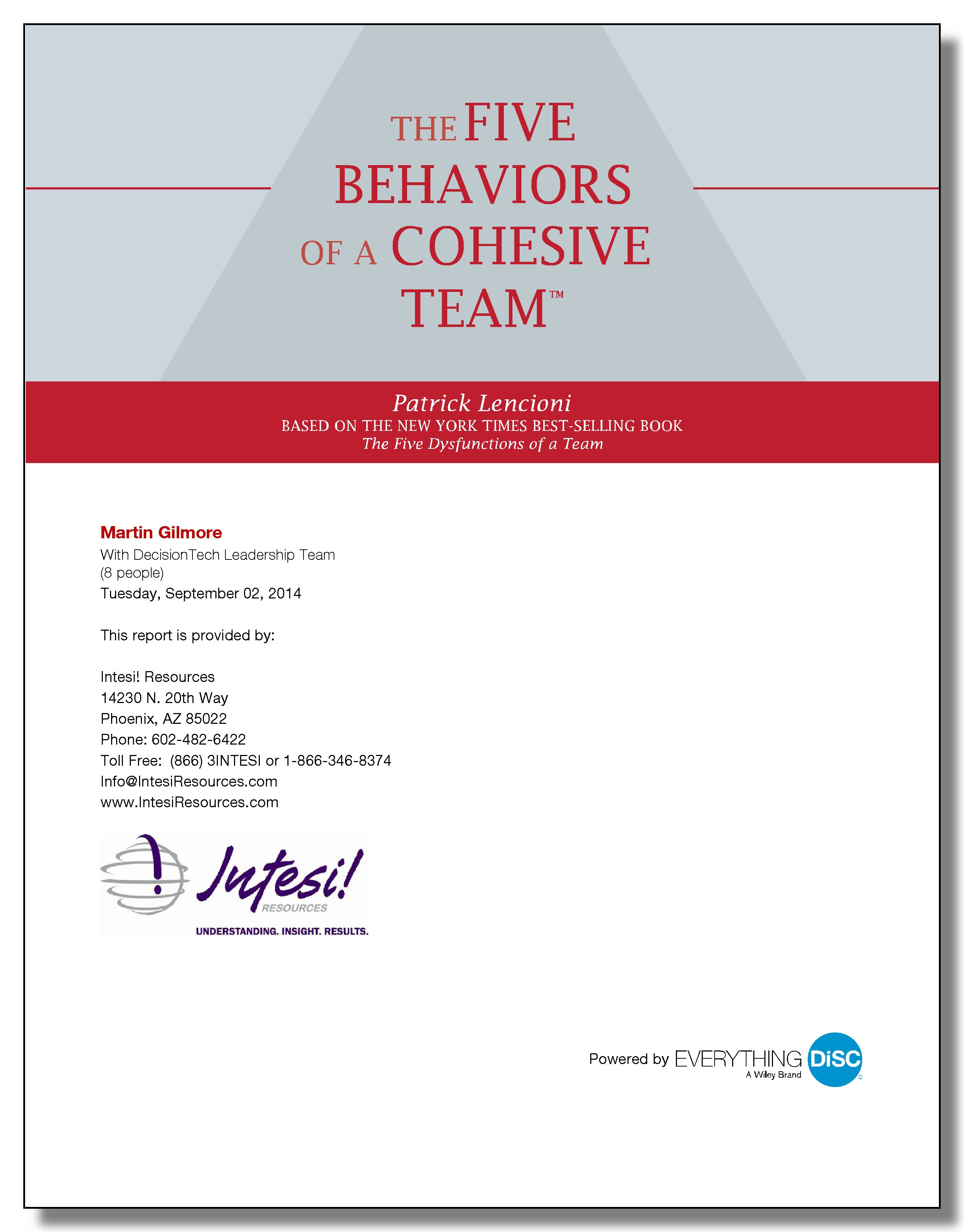 Five Behaviors Individual Sample Report