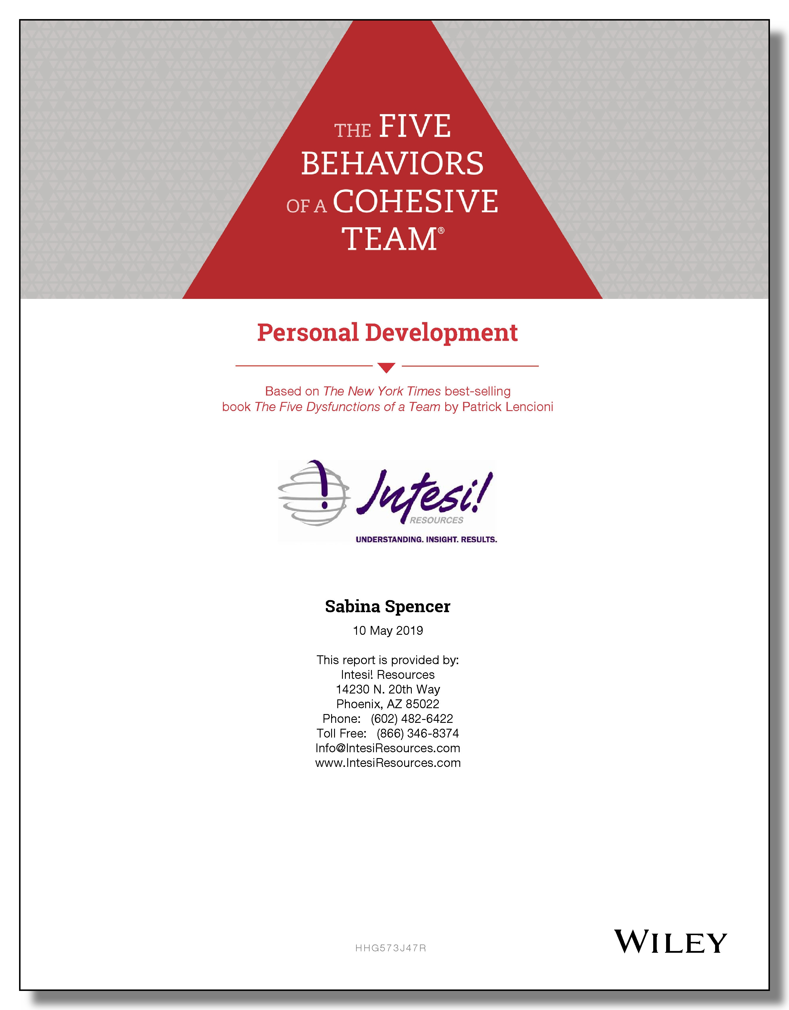 Five Behaviors Personal Development Sample Report