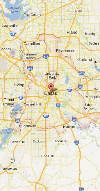 Map of Dallas Vicinity